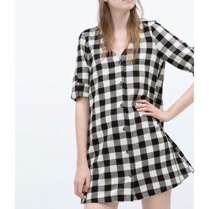 Zara buffalo check button down swing dress S